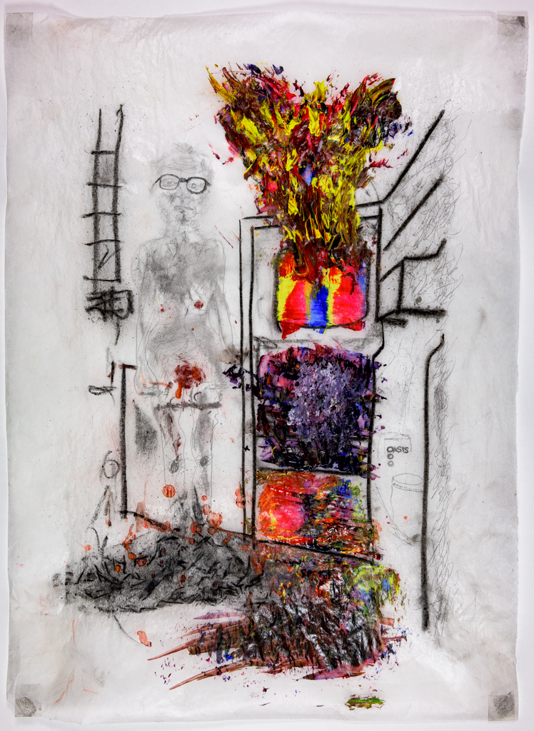 [ Fig. 09 ] <i>Untitled (refrigerator in flames, Alfred and Nettie in her kitchen in Outremont)</i>, 2017.