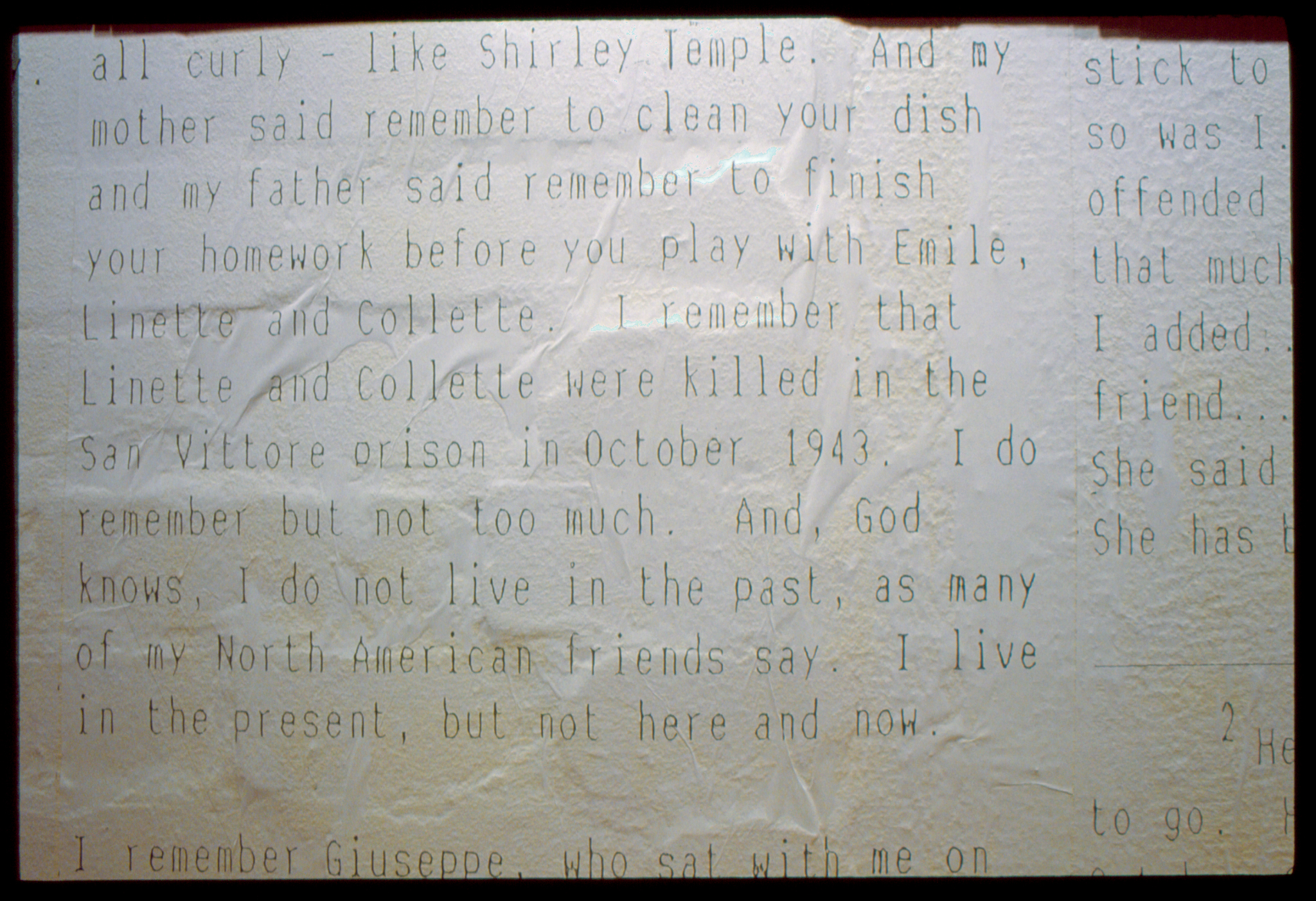 [ Fig .17 ] <i>Harry's Diary: Extract From Pretty Ribbons</i> (exhibition view), Kunsthalle Bielefeld, Germany, 1994.